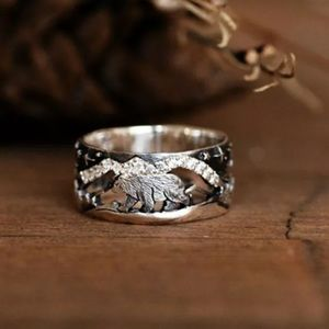 """VINTAGE """"starry night """" SILVER RING"""